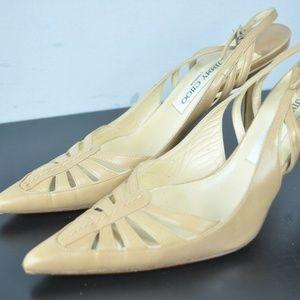 Jimmy Choo Tan Leather Sling Back High Heels